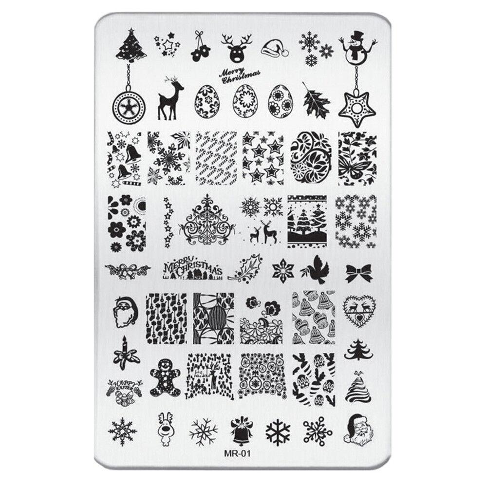 XXL XMAS Stamping Schablone #1 Weihnachten Schnee Advent Nailart Stempel Platte