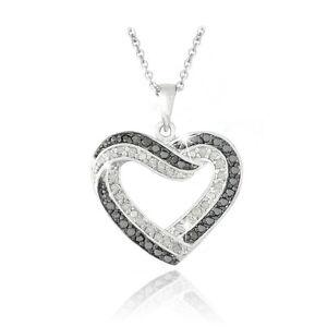 0.50ct TDW Black & White Diamond Open Heart Necklace