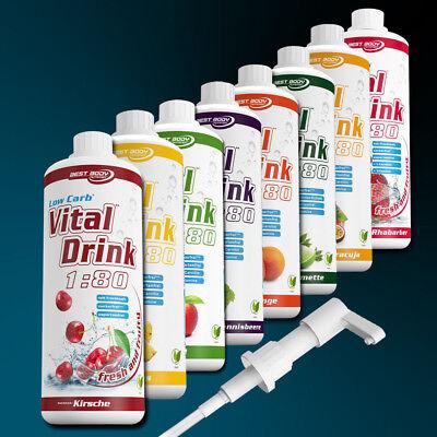 Getränkesirup Low Carb Vital Drink 1000 ml Konzentrat Sirup vegan + Dosierpumpe