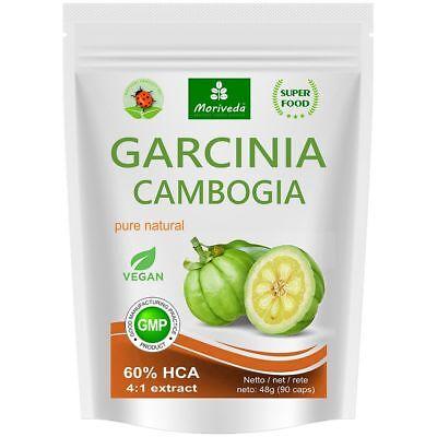 Garcinia Cambogia Kapseln (60% HCA, 4:1 Extrakt) 100% Vegan mit Kalzium, 90 Caps
