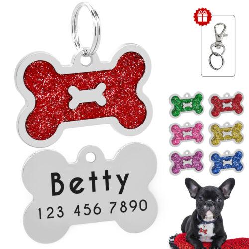 Hundemarken Personalisiert Tiermarke Katzenmarke mit GRAVUR Knochenform Bling