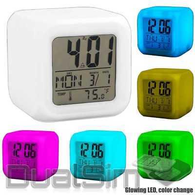 LED Wecker Farbspiel Digital Uhr Kinderwecker Würfel Cube Thermometer Weiß White