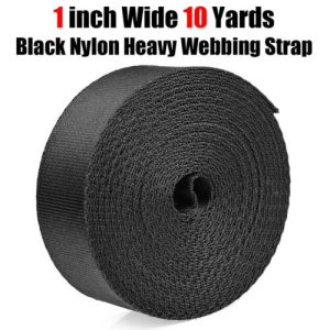 1 Inch Wide 10 Yards Black Nylon Heavy Webbing Strap Free Shipping New
