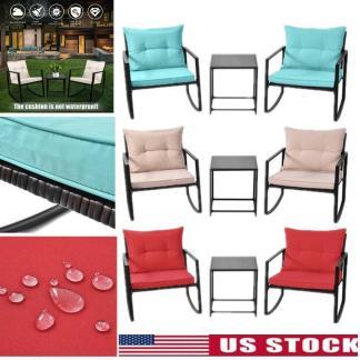 3Pcs Rattan Patio Outdoor Furniture Set Rocking Sofa Chair & Table W/ Cushion US