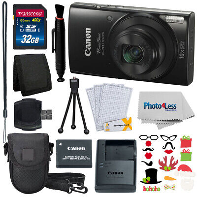 Canon PowerShot ELPH 190 IS Black + 32GB Memory Card + Complete Accessory bundle