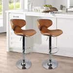 Set Of 2 Bar Stools Pub Dining Counter Chair Leather Adjustable Swivel Office