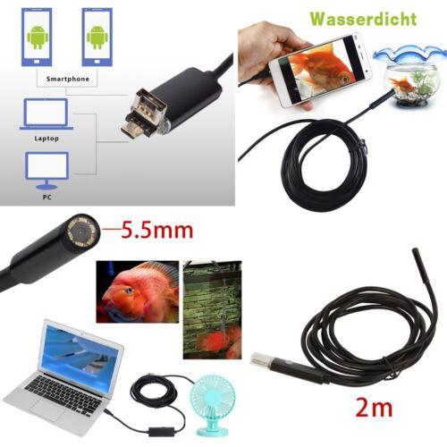 HARTES KABEL 2M USB Endoskop Kamera 5,5mm HD LED Inspektion für Handy Android PC