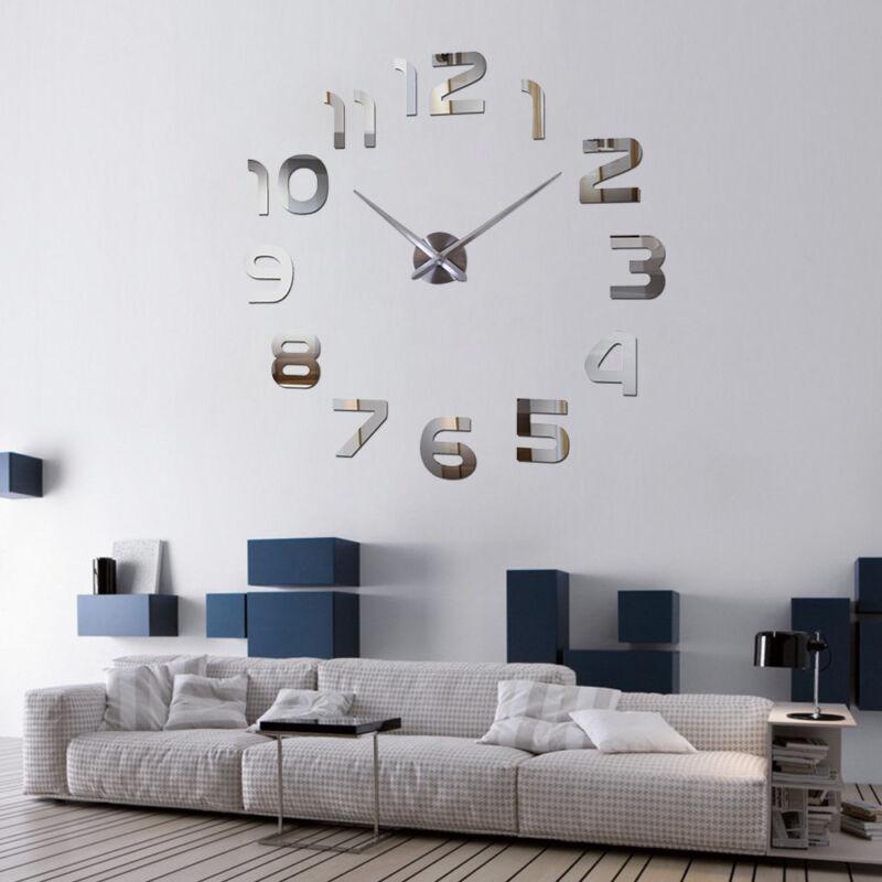 Design Wand Uhr Wohnzimmer wanduhr Spiegel Edelstahl wandtattoo Deko XXL XL 3D