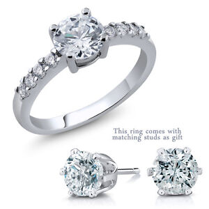 2.50 Ct 7mm Round Center Zirconia Ring Available in 6 Colors