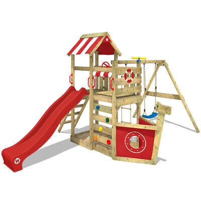 WICKEY Spielturm Klettergerüst SeaFlyer + Schaukel, Sandkasten & roter Rutsche