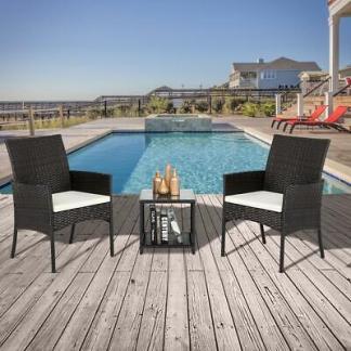 Rattan Wicker Furniture Set 3PC Cushioned Outdoor Garden Seat Patio Sofa Chair