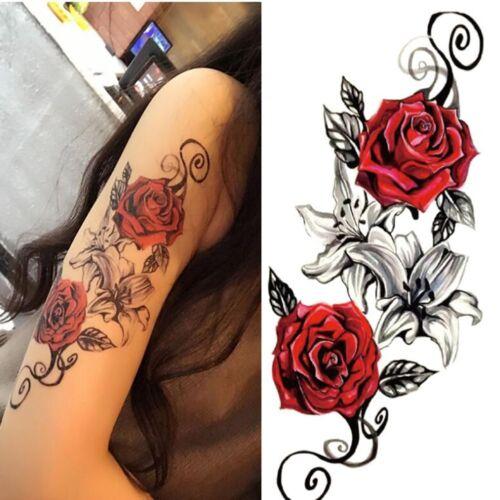 Sexy Blumen Einmal Tatoo Tätowierung Körper Arm Rose Tattoo Aufkleber Schmuck