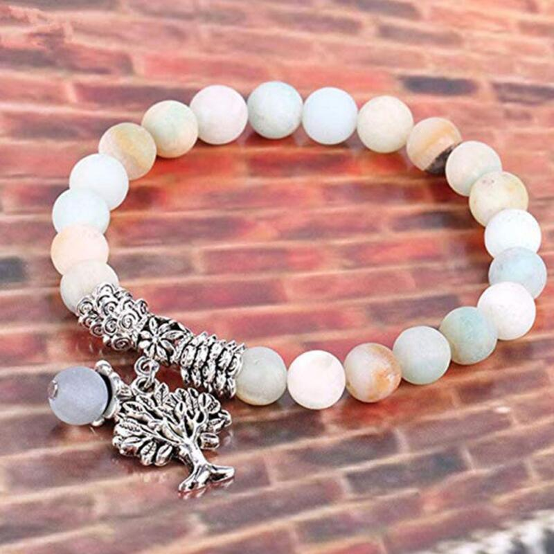 Unisex Naturstein Perlenarmband Baum des Lebens Anhänger Elastic Yoga Armband