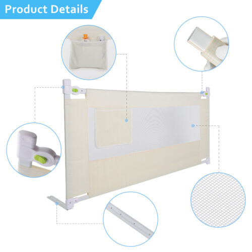 """71""""/79"""" Foldable Toddler Bed Rail Baby Crib Side Safety Guard Kid Infant Bedrail 3"""