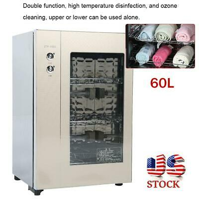 60L 2in1 3Layers Heating Towel Warming Disinfection Cabinet Sterilizer 110V New