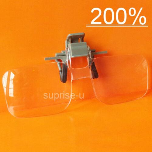 200% Vergrößerungsbrille Lupenbrille Clip Lesebrillen Lesehilfe Lupe Brille DE