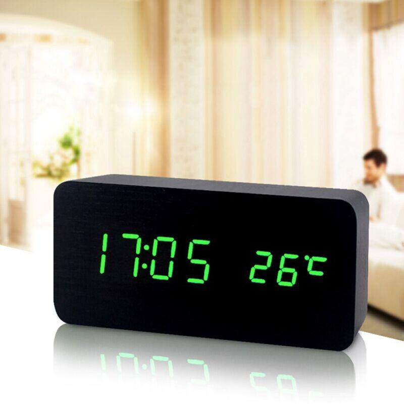 LED Digital Wecker Tischuhr Uhr Beleuchtet Thermometer Holz Alarm Snooze DE