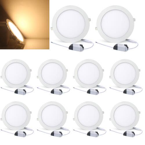 10x Dimmbar Ultraslim Rund LED Panel Einbaustrahler Lampe Deckenleuchte Warmweiß