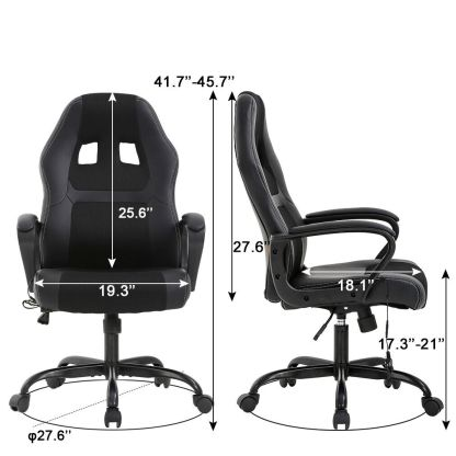 PC Gaming Chair Massage Office Chair Ergonomic Desk Chair Adjustable PU Leather 6