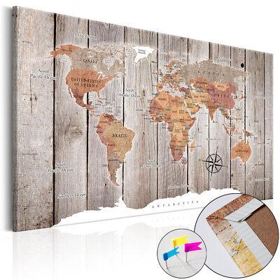 BILD WELTKARTE PINNWAND Memotafel Holzoptik Wandbilder xxl Holzfaserplatte 3Farb