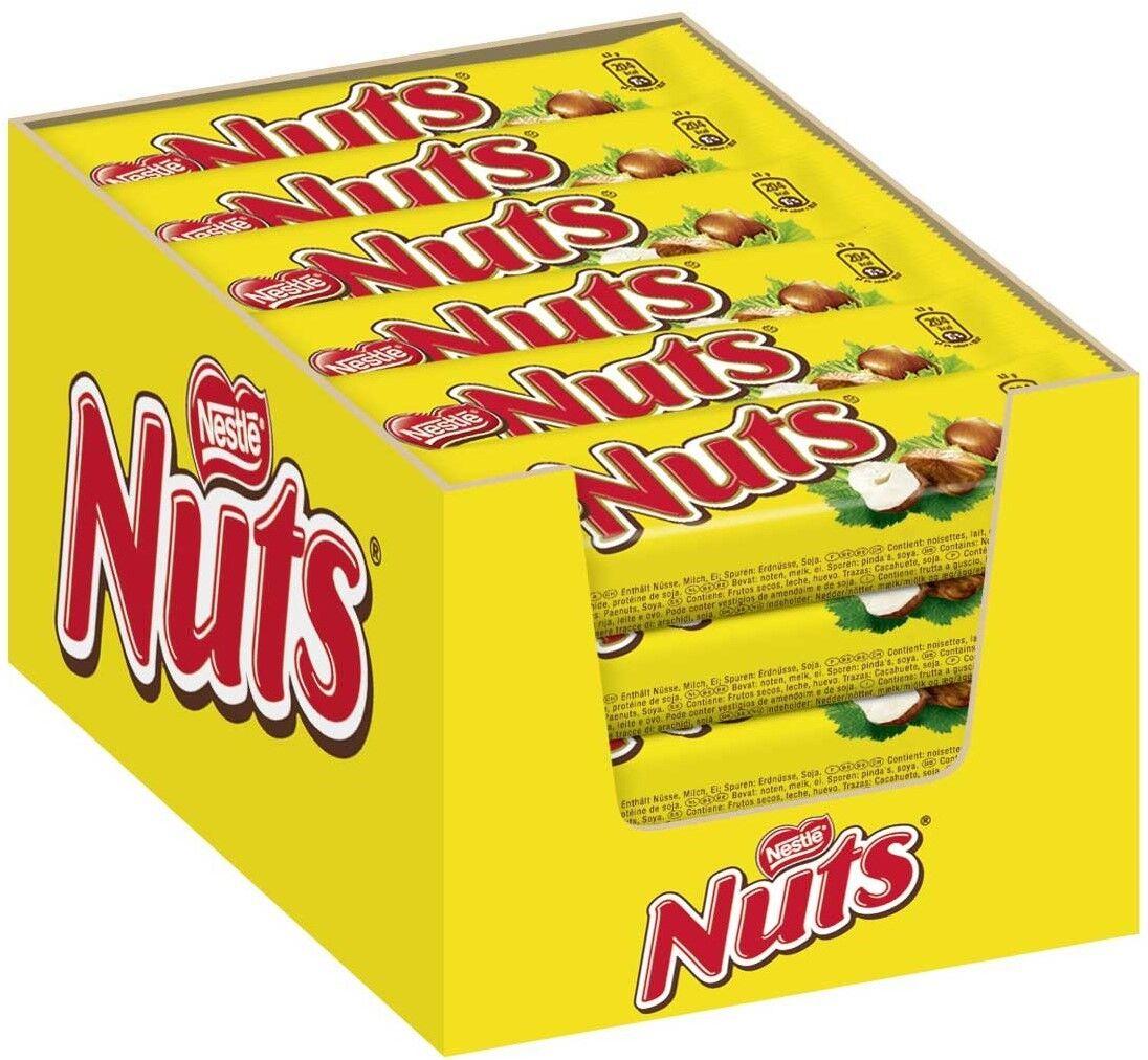 (1000g=8,88€) Nestle Nuts - Schokoriegel - 24 Riegel
