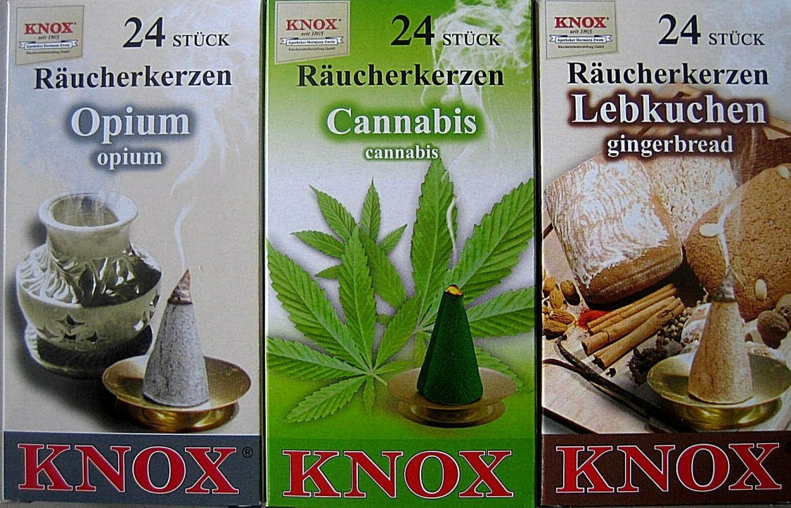 24 Stück Original Knox Räucherkerzen Räucherkegel  Opium Cannabis Lebkuchen