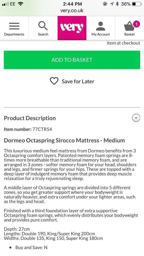 Dormeo Octaspring Spring Sirocco Double Mattress Image 1 Of 4
