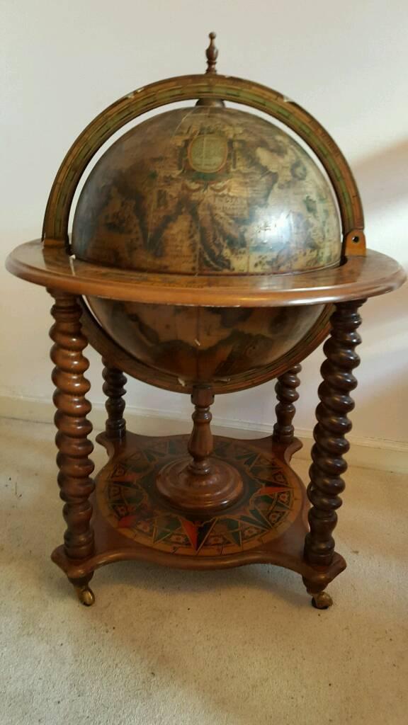 Vintage Globe Drinks Cabinet Complete With Toledo Tail Swords - Atlas Drinks Cabinet Creativeadvertisingblog.com