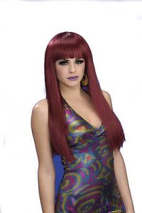 Cheap Black Cherry Wig Long 70s Style Wig W/Bangs 1970s Cher Diva Wig 64537