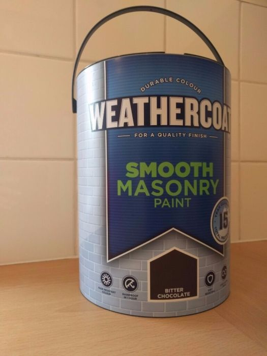 Brand New Unopened 5 Litre Can Of Homebase Weathercoat Masonry Paint In Brown