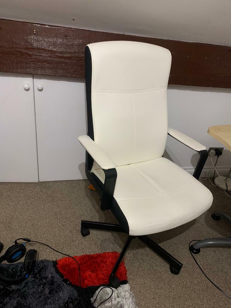 White Leather Ikea Office Chair In Hale Barns Manchester Gumtree