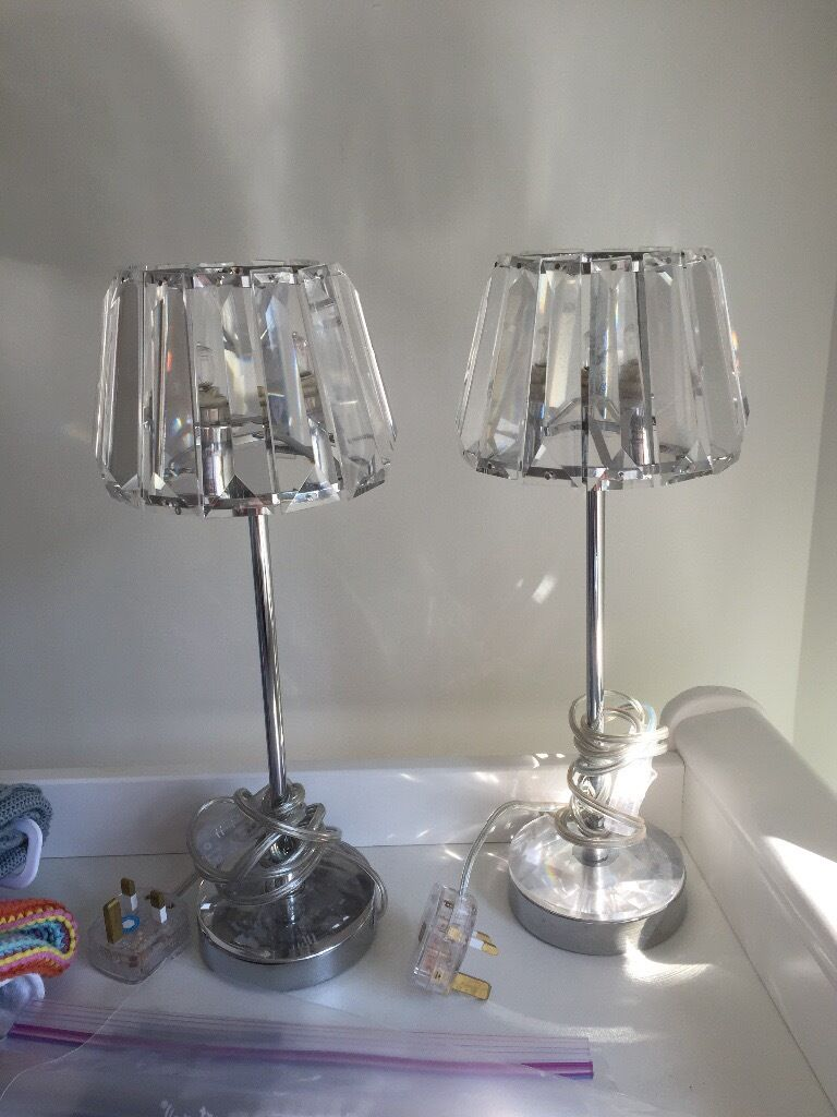 Pair Of Laura Ashley Capri Chrome Lamps With Crystal Glass