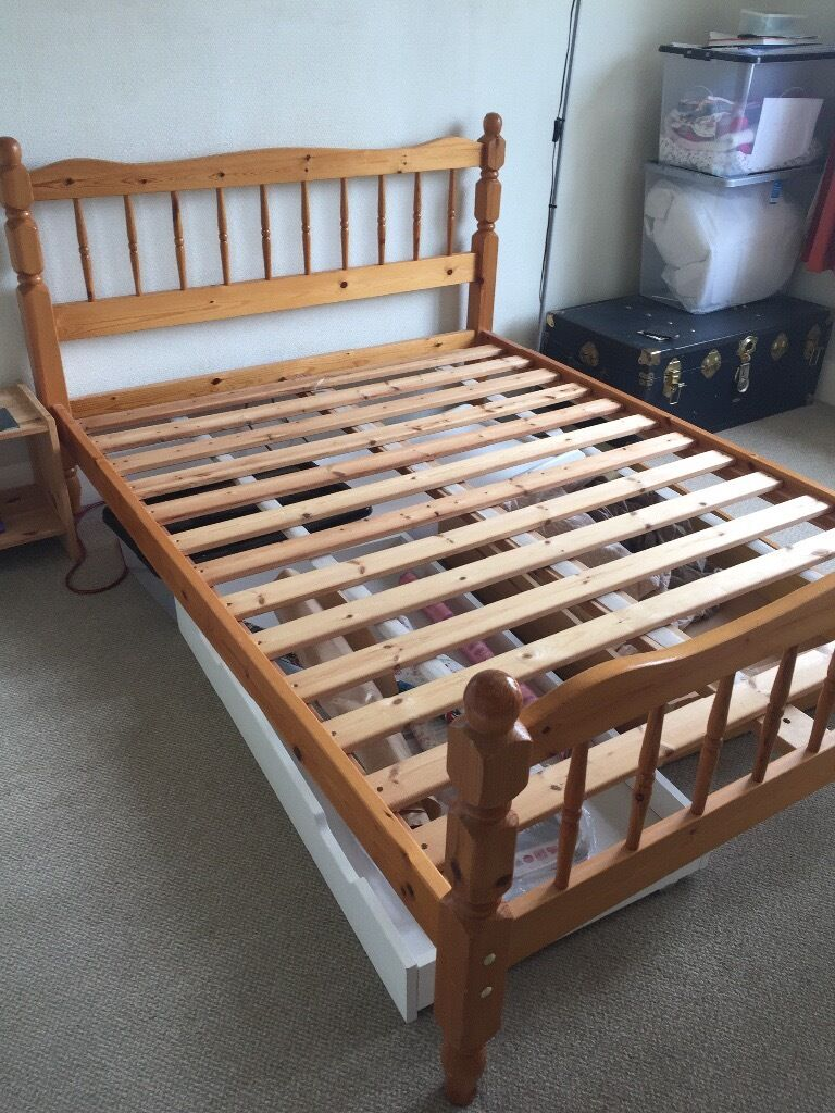 wooden bed frame with slats condition in Double Bed Slats id=39372