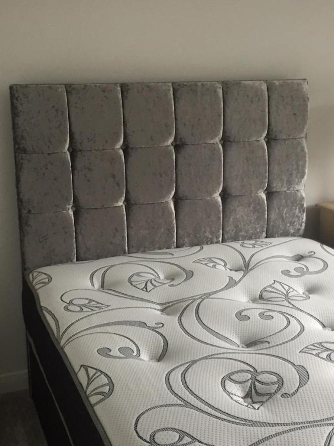 Brand New Double Bed Base With Silver Chenile Headboard No Mattress