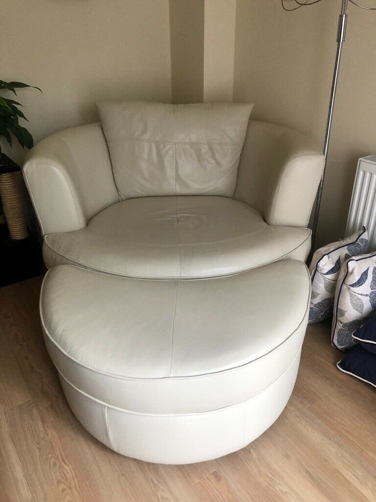 Cream Leather Swivel Chair And Footstool In Hedge End Hampshire Gumtree