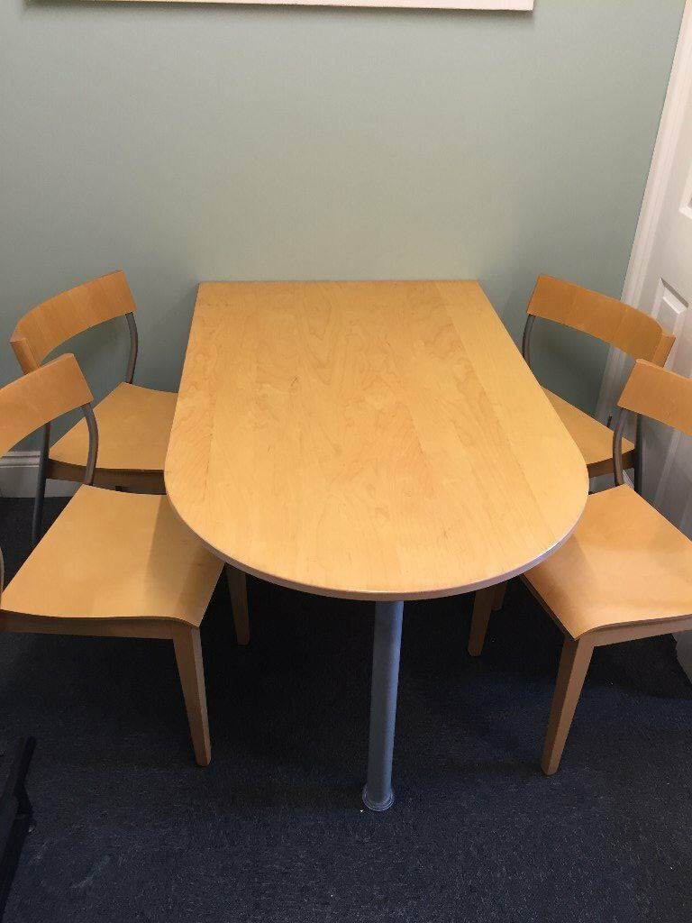 SMALL WALL MOUNTED HOME OFFICE MEETING TABLE AND FOUR