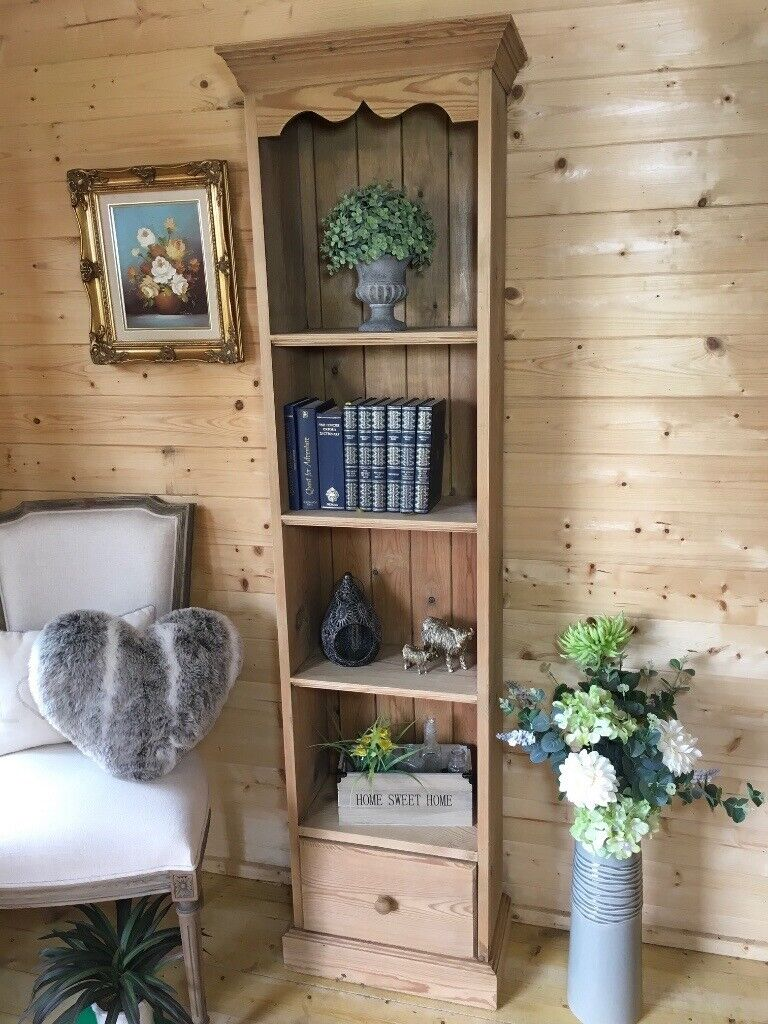 Farmhouse Rustic Solid Pine Tall Slim Bookcase Display Shelves Shelving Unit In Selby North Yorkshire Gumtree