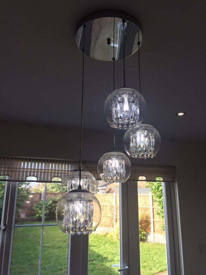 Bhs 5 Light Glass Crystal Spiral Pendant Chandelier Led Cool White Bulbs