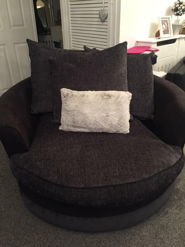 Round Swivel Chair Black Leather Gray Charcoal Fabric From Scs In Stevenage Hertfordshire Gumtree