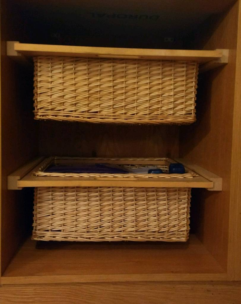 Wicker Basket Kitchen Pull Out Storage Inc Beech Runners