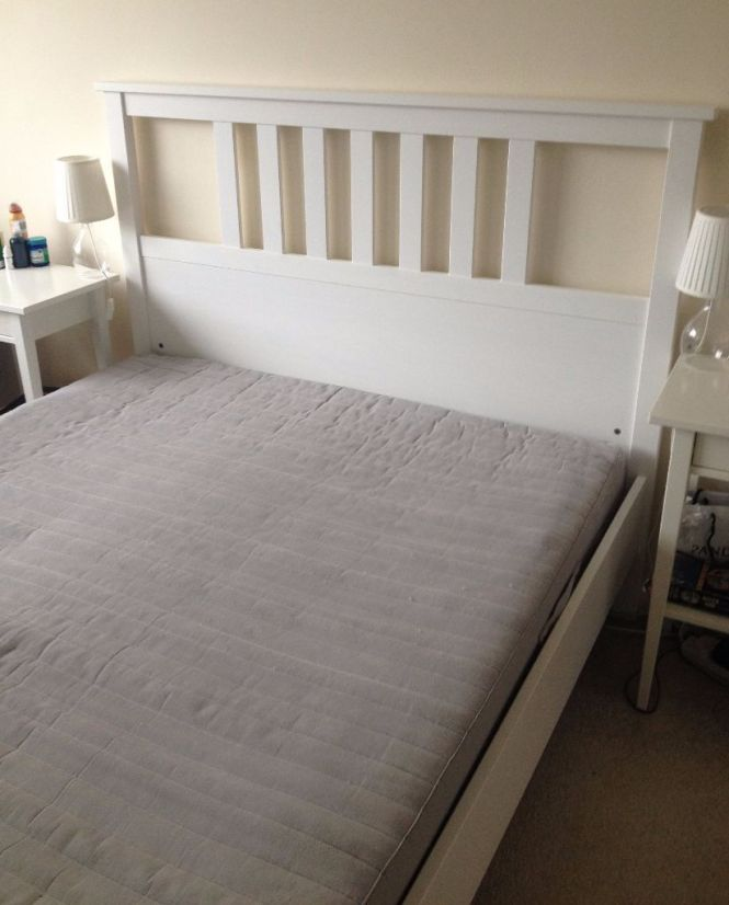 Ikea Hemnes Double Bed Frame 1 Year Old With Mattress 3 Years