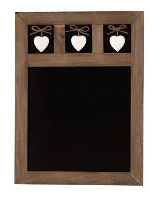 Kreidetafel im Landhaus Stil Memotafel 30 x 40 Tafel mit 3 Herzen und Holzrahmen