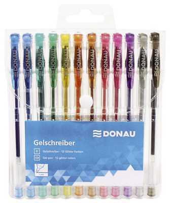 DONAU Glitzer Stifte Gelstifte 12 Stück WOW