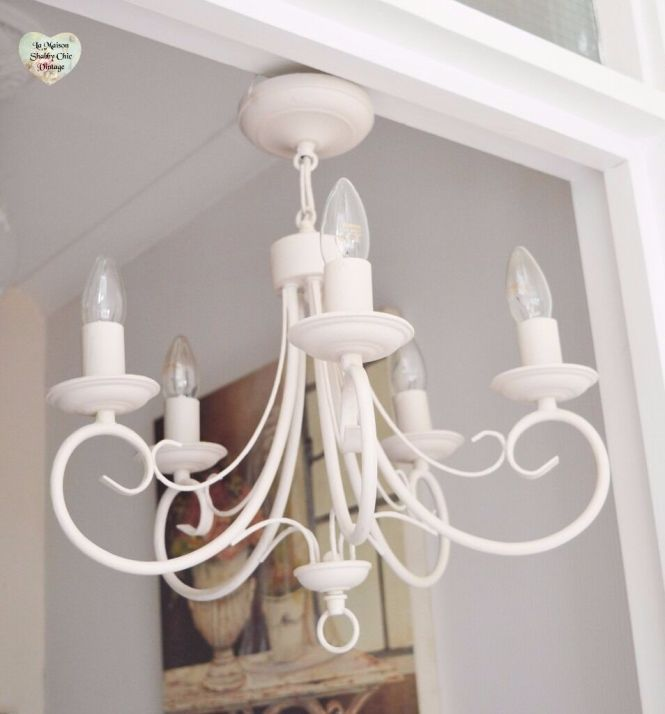5 Arm Ceiling Light Chandelier Metal Hand Painted Shabby Chic