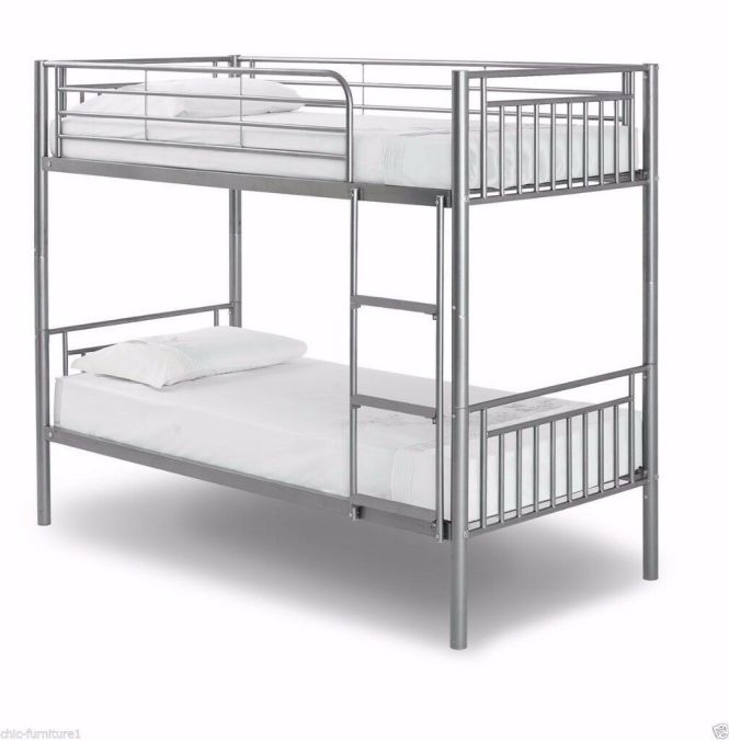 Brand New 3ft Single Metal Bunk Bed With 2 X 9 Inches Thick Deep Quilted