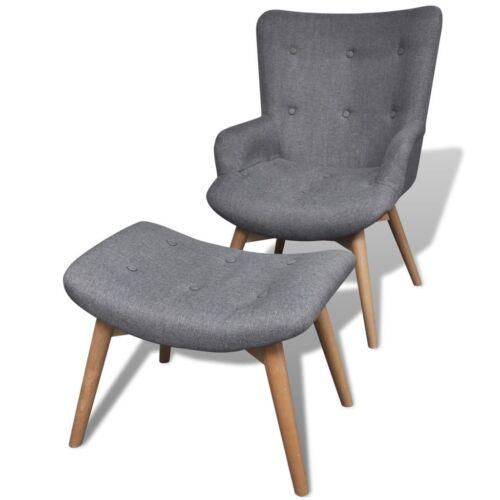vidaXL Sessel mit Fußhocker Grau Stoff Fernsehsessel Relaxsessel Polstersessel