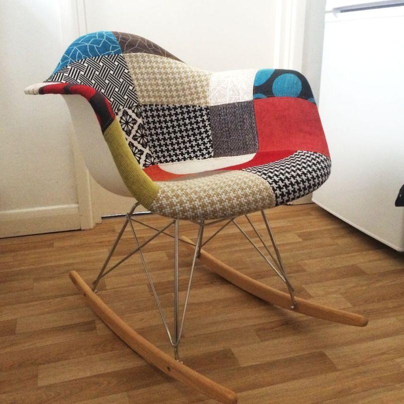 Fauteuil à bascule Charles Eames revisité façon Patchwork
