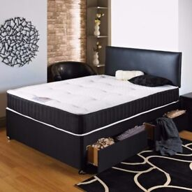 Double Divan Bed Base With Luxury 1000 Pocket Sprung Mattress Fast Delivery