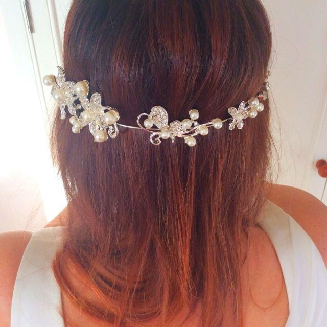 bendable pearl & crystal bridal hair vine / tiara. boho