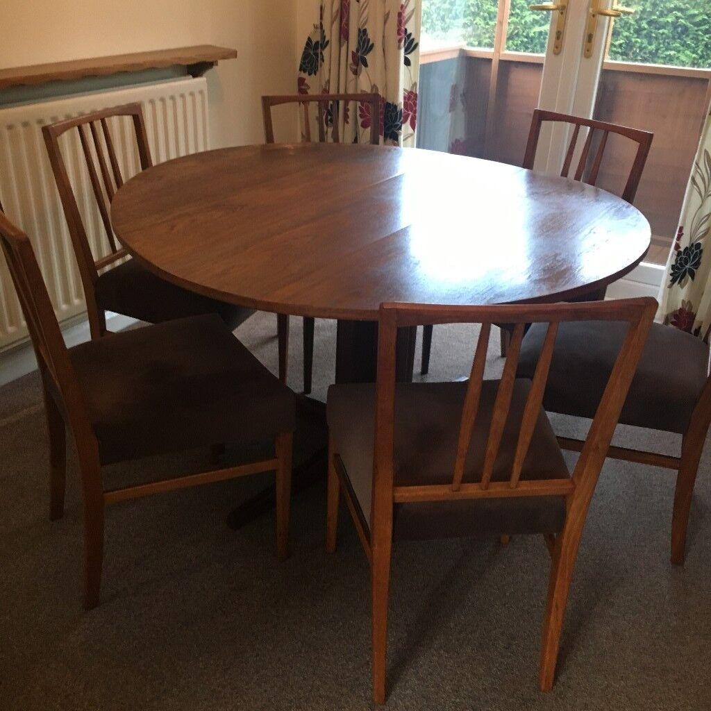 solid teak folding circular dining table amp 6 newly Circular Folding Dining Table id=19337